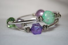 Purple and Green Memory Wire Bracelet by TheMajesticElephant, $23.00