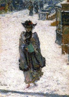 "impressionism-art-blog: ""Street Scene, Christmas Morning, 1892, Childe Hassam "" Winter is coming"