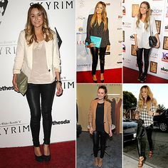 The always stunning Lauren Conrad modeling several different ways to wear leather leggings. Love her!