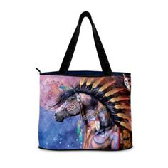 Spirit Of The Painted Pony Tote Bag -  	     	              	View Sale Price   Let the colorful beauty of the spirit world inspire you wherever you go with this gorgeous Spirit of the Painted Pony Tote Bag. A custom-designed exclusive from The Bradford Exchange, it showcases a vibrant collage of images from acclaimed wildlife artist...