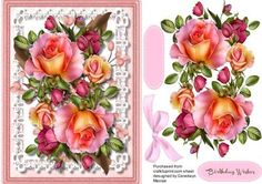 Beautiful Roseglow roses on Stunning lace on Craftsuprint designed by Ceredwyn Macrae - A lovely card to make and give to anyone on there birthday with beautiful Rosey glow roses on stunning lace a lovely card has one greeting tags and a blank one for you to choose the sentiment, - Now available for download!