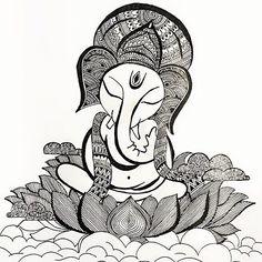 Ganesha by - Doodle Art Drawing, Dark Art Drawings, Zentangle Drawings, Mandala Drawing, Art Drawings Sketches, Mandala Art Lesson, Mandala Artwork, Indian Art Gallery, Dancing Drawings