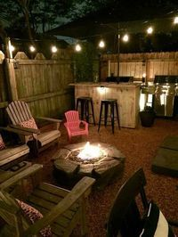 Outdoor fire pit, outdoor entertainment, pool, pool chairs, #fire #firepit #Christmaslights #lighting #entertainmentspace #patio #Adirondack  #chairs #entertainment #outdoorliving #fireplace #summernights #ad #az