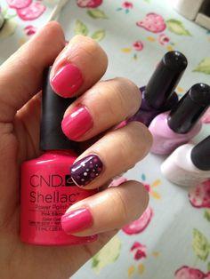 Shellac nail art. Pink bikini, rock royalty, cake pop, cream puff.