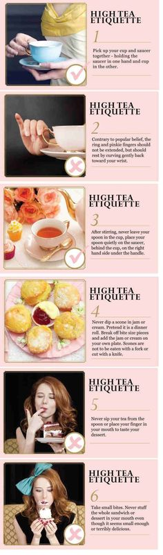High Tea Manners - 6 rules <---- this is actually properly referred to as Afternoon Tea. High Tea is a working class meal between lunch and dinner and typically has things like beans, sliced meats, boiled eggs, etc. Tea Etiquette, Dining Etiquette, Etiquette And Manners, Scones, Tee Sandwiches, High Tea Sandwiches, Simply Yummy, Party Set, Table Manners