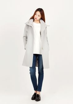 LOOKAST CHAPTER #6 - Grey high neck slim fit coat