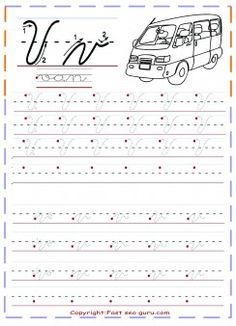 free printable cursive handwriting tracing worksheets letter v for van…