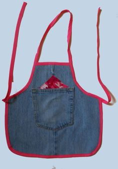 Recycled Blue jeans bandana Toddler Apron with by beckyspillowshop
