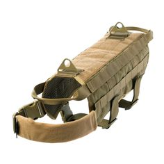 Yisibo Tactical Dog Harness Vest Nylon Training Military Patrol K9 Service Dog Dog Vest Jacket with Handle For Medium Large Dogs Coyote Brown M