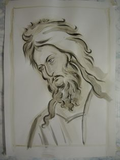 Teaching Drawing, Religious Images, John The Baptist, Orthodox Icons, Drawing Techniques, Painting & Drawing, Icon Design, Monochrome, Creations