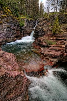 st. mary falls, glacier national park, montana by tom lussier