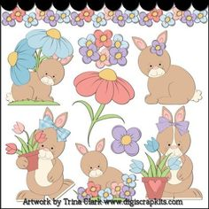 Garden Bunnies 1 Clip Art - Original Artwork by Trina Clark