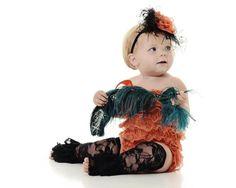 Halloween Lace Romper Set Romper Headband by babyandmedesigns
