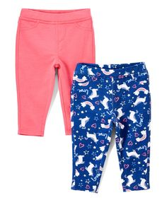 Take a look at this Navy Noir Unicorn & Pink French Terry Capri Jeggings Set - Infant, Toddler & Girls today!