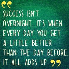 """Success isn't overnight. It's when every day you get a little better than the…"
