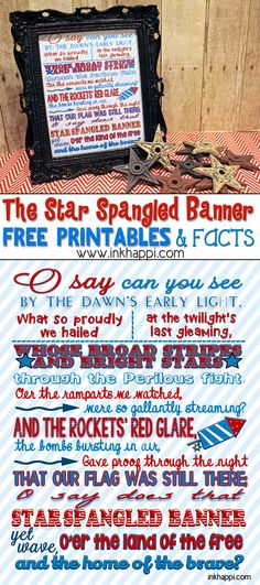 Some Facts and Printables Star Spangled Banner facts and free printables!Star Spangled Banner facts and free printables! Patriotic Crafts, July Crafts, Summer Crafts, Holiday Crafts, Summer Fun, Summer Ideas, Holiday Ideas, Fourth Of July Decor, 4th Of July Party