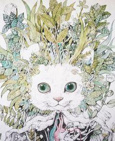 GUSTAVE higuchiyuko ヒグチユウコ Art And Illustration, Illustrations Posters, Drawing Painting Images, Vintage Cat, Cat Drawing, Art Journal Inspiration, Artist Art, Cat Art, Anime Manga
