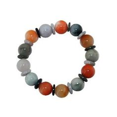 Jade bracelet handmade in Myanmar with round multi color stones measuring approximately 12-13 mm diameter separated all around by green jade round discs. Adjustable to fit most wrists sized 19 cm and larger.