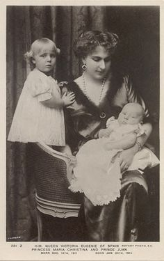 Queen Victoria Eugenie with her daughter Infanta Maria Christina of Spain, and son Infante Juan of Spain