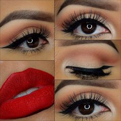 Black eyeliner and red lipstick for seductive makeup. #eyeliner #makeup #redlipstick