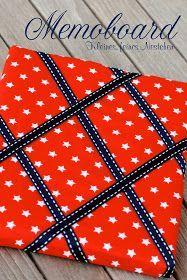 DIY Memoboard I Als Tipp, doppelt so breit machen und eine hälfte anstatt mit Stoff zu beziehen mit Tafelmalfarbe anmalen oder mit Tafelfolie bekleben.
