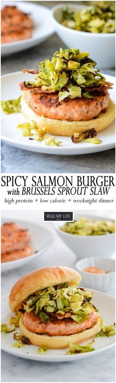 These Spicy Salmon Burgers topped with a roasted brussels sprout slaw will become your new favorite way to enjoy salmon. Salty and Crunchy these low-calorie, high protein burgers make the perfect healthy choice for the family.  Since they take only 20 minutes to prep and serve they are perfect for a weeknight dinner.  I topped my burgers with a simple roasted brussels sprout slaw to add a bonus superfood alternative.- A Healthy Life For Me