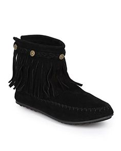 [AMAZON] Refresh CI90 Women Suede Braided Fringe Zip Moccasin Boot - Black -  with FREE SHIPING WORLDWIDE!