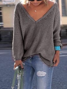 4071af4ccd Women Outfits · V Neck Knitted Casual Pullover Sweater Sweater Cardigan