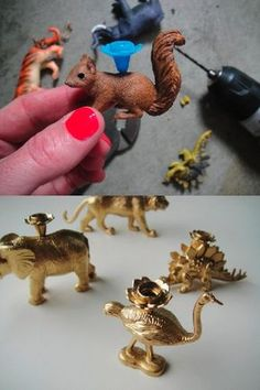 DIY Party Animal Candles Create pretty candle holders for birthday cakes by attaching the plastic candle holders to small figurines or toys. Diy Party Animals, Animal Party, Diy Projects To Try, Craft Projects, Craft Ideas, Diy And Crafts, Crafts For Kids, Ideias Diy, Plastic Animals