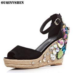 48.80$  Buy now - http://alib18.shopchina.info/go.php?t=32807842888 - OUQINVSHEN Crystal Bling Women Sandals Round Toe platform Sandals High Heels Women Summer Sandal Casual Fashion Wedges Sandals 48.80$ #magazineonline