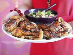 Sticky Chilli Roast Chicken with Rice Salad - bbcgoodfood.com