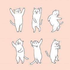 Vector de baile lindo gato de dibujos animados. Vector Premium Dancing Animals, Dancing Cat, Cute Animal Drawings, Cartoon Drawings, Cat Character, Character Design, Dance Vector, Dancing Drawings, Cat Vector