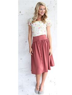 Rose Button Modest Skirt by Mikarose | Trendy Modest Dresses | Mikarose Spring 2014 Collection