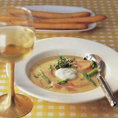 Recept - Mosterdsoep met asperges en ham - Allerhande