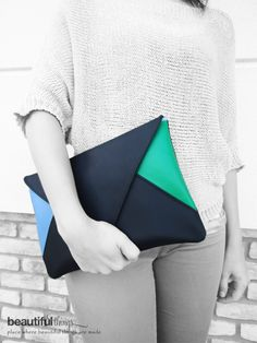 Bolsos de sobre - Envelope clutch black, green and blue - hecho a mano por Beautifulthingspl en DaWanda