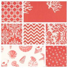 Coral Curtain Drapery Panels: