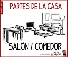 Salón comedor, partes de la casa - vocabulario español intermedio