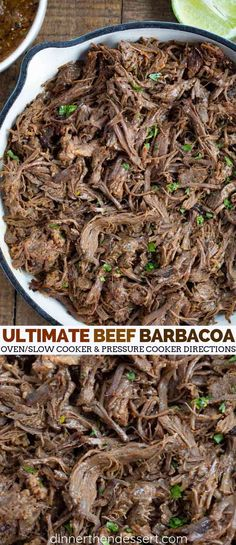 Beef Barbacoa roasted low and slow in the oven crusted with a flavorful spicy chipotle chili vinegar mix makes the ultimate Mexican beef tacos, burritos and more. #beef #barbacoa #chipotle #copycat #burrito #taco #mexican #mexicanfood #dinner #dinnerthendessert