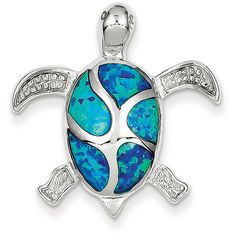 Sterling Silver Blue Inlay Created Opal Turtle Pendant (45 AUD) ❤ liked on Polyvore featuring jewelry, pendants, sterling silver, polish jewelry, blue pendant, charm pendant, pendant jewelry and opal pendant
