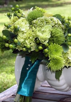 Green floral with teal