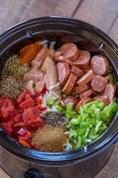 Slow Cooker Jambalaya with andouille sausage, chicken and shrimp cooked low and . - Slow Cooker Jambalaya with andouille sausage, chicken and shrimp cooked low and slow with bold spic - Crockpot Dishes, Crock Pot Slow Cooker, Crock Pot Cooking, Slow Cooker Recipes, Cooking Recipes, Cooking Fish, Cooking Bacon, Slow Cooker Dinners, Beef Recipes
