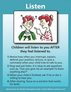 Listening Tool Card | Positive Discipline. For more behavior pins, follow @connectforkids
