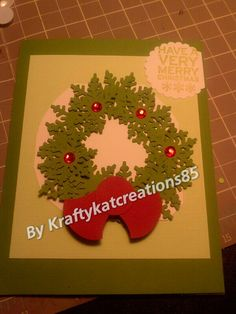 Christmas wreath made w punches
