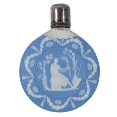 Wedgwood Scent Bottle England  circa 1790. A fine unmarked Wedgwood blue and white jasper scent bottle molded in relief with classical figures