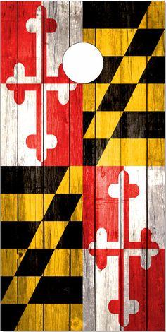 Maryland Flag Weathered Wood Cornhole Wrap by EliteChoiceGraphix