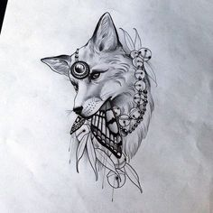 Tattoo Sketches, Tattoo Drawings, Art Sketches, Fox Tattoo Design, Tattoo Designs, Love Tattoos, Body Art Tattoos, Coyote Drawing, Coyote Tattoo