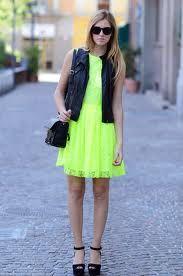neon dress & leather vest- the blonde salad