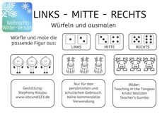 Richtungsangaben: Links - Mitte - Rechts - Weihnachts-Winterversion #freebie File Folder Games, German Language, Learning Disabilities, Blogger Themes, Outdoor Art, Animal Design, Celebrity Weddings, Travel Quotes, Art Education