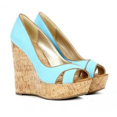 cute blue wedges -  a great way to cheat at wearing stiletto height shoes!