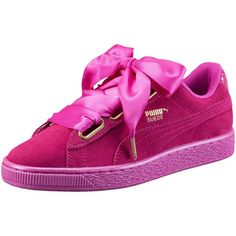 Puma Suede Heart Satin Women's Sneakers ($80) ❤ liked on Polyvore featuring shoes, sneakers, laced up shoes, puma sneakers, metallic shoes, lace up shoes and sport shoes